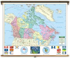 Map Canada Provinces by Primary Canada Political Classroom Map On Spring Roller