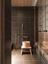 houses japanese bathroom design with gray tile floor and wall