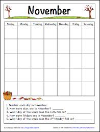 november learning calendar template for kids free printable
