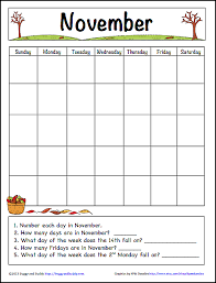 calendars teacher calendar template november learning calendar template for kids free printable