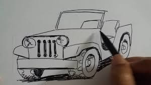 jeep artwork how to draw a jeep car very simple cara menggambar jeep terbuka