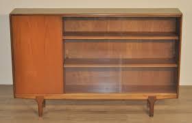 Sliding Door Bookcase Retro Mcintosh Long Low Teak Glass Sliding Door Bookcase Cabinet