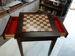 hand crafted custom exotic wood chess table with drawers by puddle