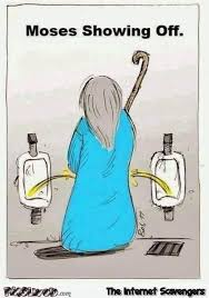 Hilarious Cartoon Memes - moses showing off in the restroom funny cartoon pmslweb