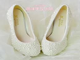 pearl wedding shoes handmade pearl wedding shoes 2015 new flat 4 5cm 8cm heel ivory