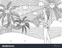 zentangle design holding surfboard stock vector