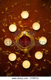 decorative lamps on festive occasion of diwali stock photo