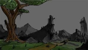 create a fantasy landscape using digital painting techniques