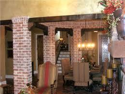 interior living packer brick dining room columns 07