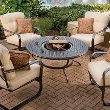 Agio Wicker Patio Furniture - agio 5 piece heritage deep seating fire pit set u2013 kuebler u0027s furniture
