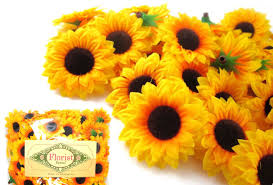 wholesale artificial flowers 100 silk yellow sunflowers sun flower heads gerber