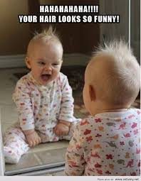 Looking In The Mirror Meme - funny baby looks in the mirror