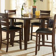 round brown wood bar height dining table set with minimalist