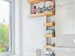 floating shelves kitchen maroon stained wall white acrylic closet