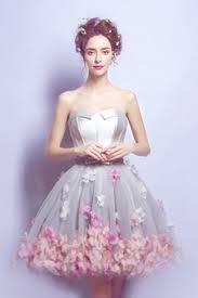 flower dress stylish strapless 3d flower party dress mini sweet prom