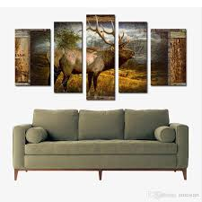 Jungle Home Decor 5 Panel Wall Art Deer Buck In Jungle Painting The Picture Print On
