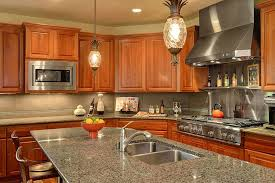 traditional kitchen craftsman with stone tile stainless steel
