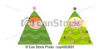 Christmas Tree Costume For Kids - vector clip art of christmas cute kid tree costume cute boy and