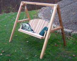 red cedar blue mountain fanback porch swing w stand