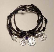 leather bracelet with charms images Leather wrap bracelet with peace charms craftstylish jpg