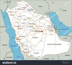Middle East Map Labeled by High Detailed Saudi Arabia Road Map Stock Vector 393333601