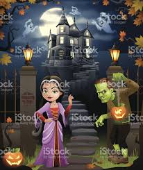 vector cartoon halloween party at the haunted house stock vector