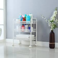 Bathroom Storage Cart Langria 3 Tier Metal Mesh Rolling Cart Multifunctional Storage