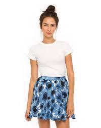 light blue skater skirt buy motel simone skater skirt in x ray floral light blue at motel