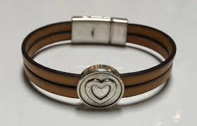 leather bracelet clasp images Pellarte double italian leather bracelet with heart bead and magn