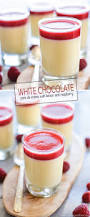 white chocolate pots de creme with raspberry sauce