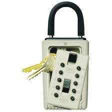 kidde portable 3 key box with pushbutton combination lock clay