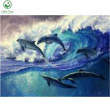 dolphin home decor 3d diamond embroidery sea animal dolphins keep swimming full