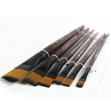 coffee color 6pcs nylon paint brushes set watercolors oil painting