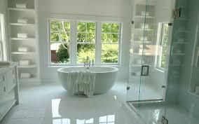 bathtub between shelves transitional bathroom