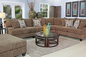Furniture  Round Tufted Ottoman Value City Ad Glass Living Room - Value city furniture living room sets