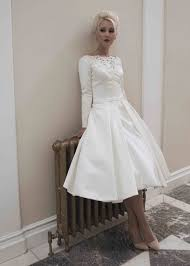 martha short vintage inspiried satin tea length wedding dress