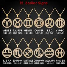 aliexpress com buy gold color 12 zodiac signs necklace cubic