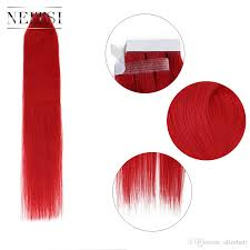 Human Hair Glue In Extensions by Neitsi 20inch Red 25g Straight Skin Weft Hair Extensions Tape In