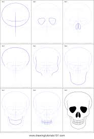 how to draw skull easy printable by drawing sheet