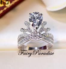 2 ct pear cut princess crown ring art deco engagement ring