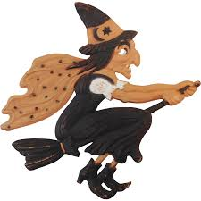 flying witch halloween large flying witch on broom german cardboard die cut halloween
