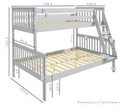 bunk bed measurements oxford triple bunk bed in light grey small double buy it direct