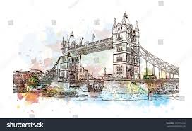 watercolor sketch tower bridge london uk stock vector 723996568