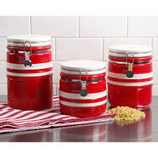 red kitchen canister sets