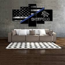 home decor line american flag thin blue line canvas wall art law enforcement