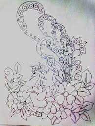 Embroidery Designs For Bed Sheets For Hand Embroidery The Pictures For U003e Peacock Designs For Fabric Painting
