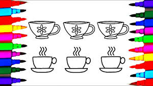 tea cups and saucers coloring drawing pages videos for kids l