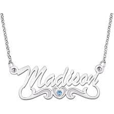 personalized name necklace sterling silver personalized script name with birthstone heart sterling