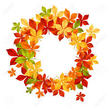 autumn falling leaves in frame for seasonal or thanksgiving design