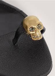 alexander mcqueen skull toe ring flat sandals in black lyst
